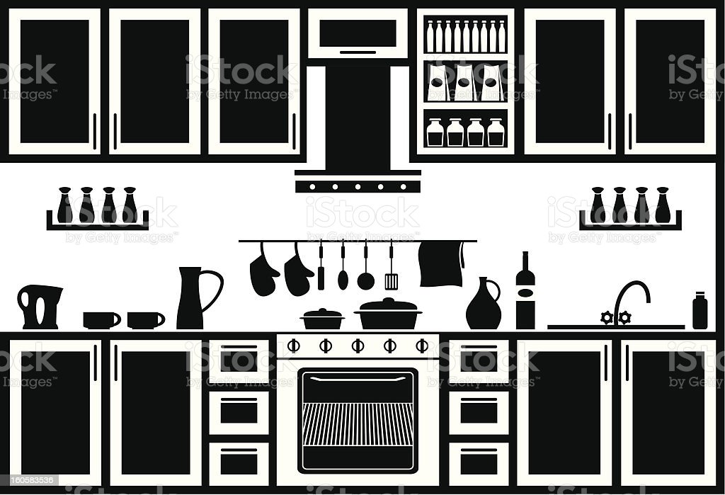 Icon of black and white kitchen layout with tools royalty-free stock vector art