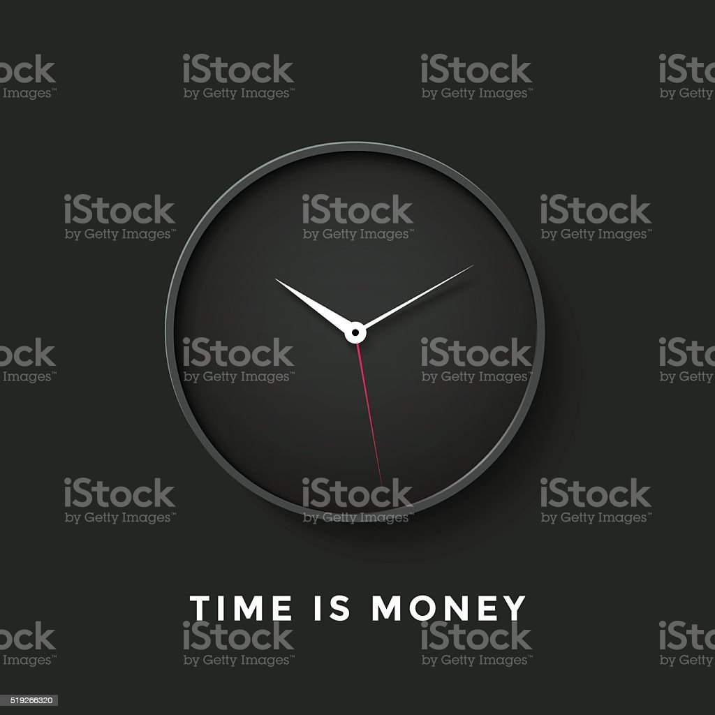 Icon of black clock face with shadow and message Time vector art illustration