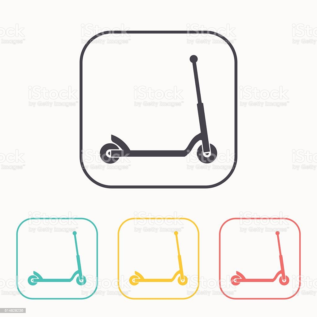 icon of child scooter color set vector art illustration