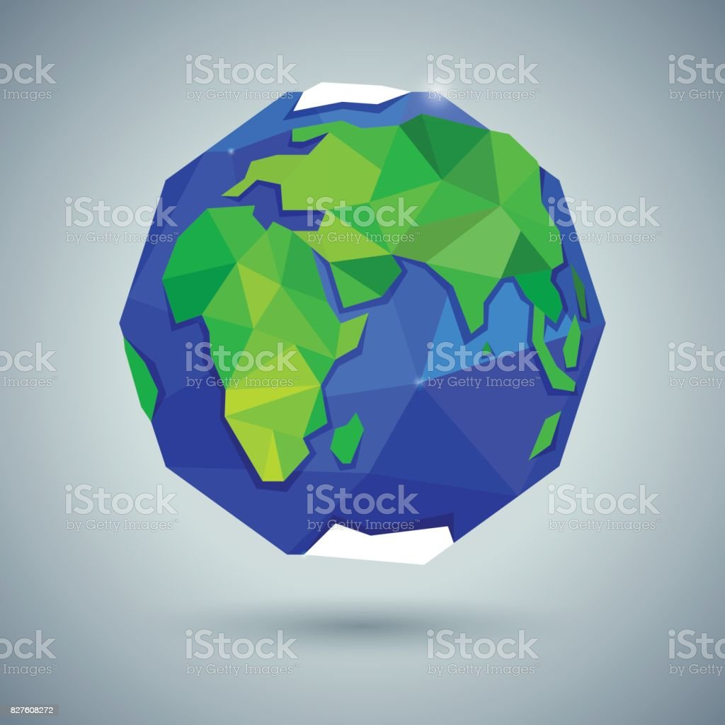 Icon of color globe or earth or planet vector art illustration