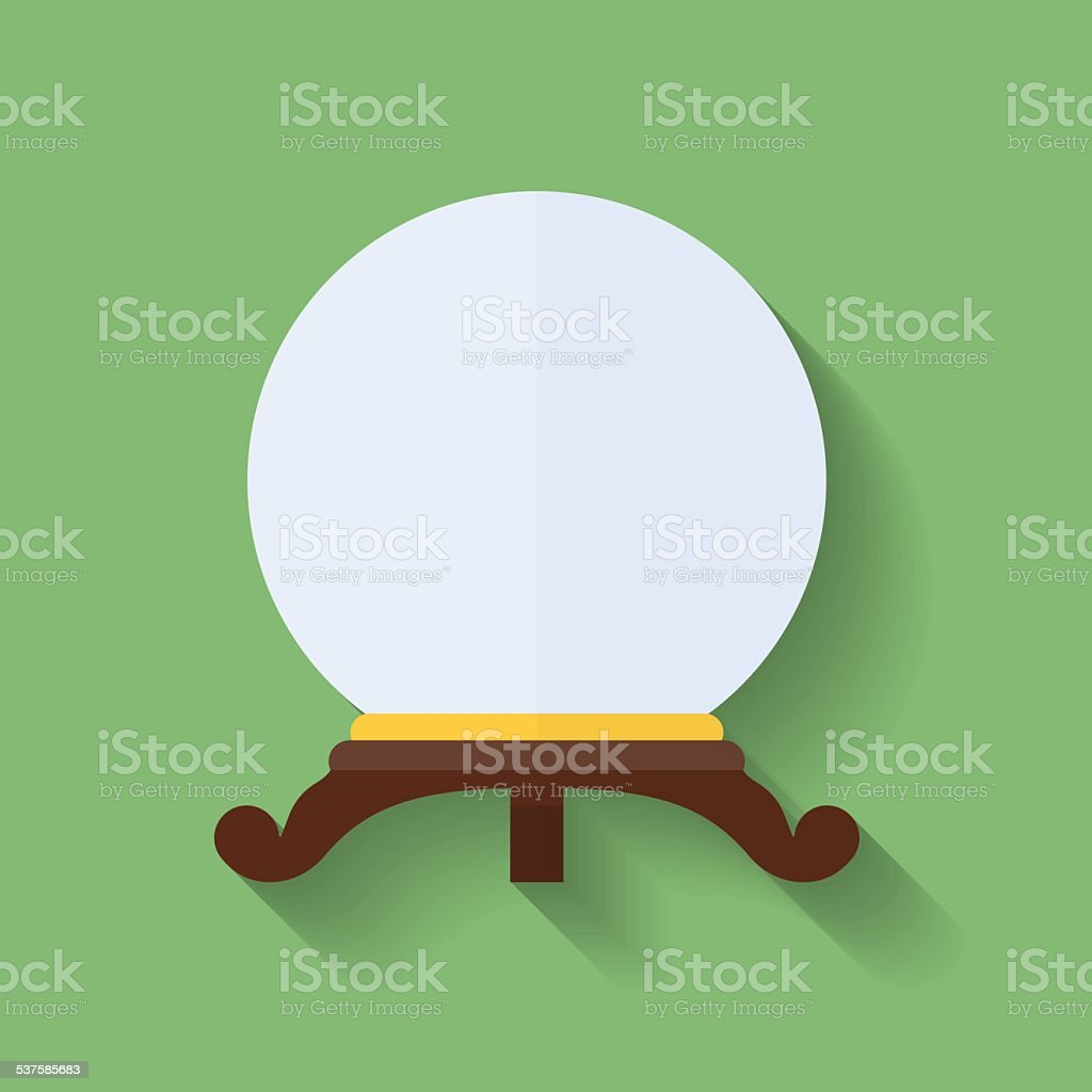 Icon of crystal ball or crystal sphere. Flat style vector art illustration