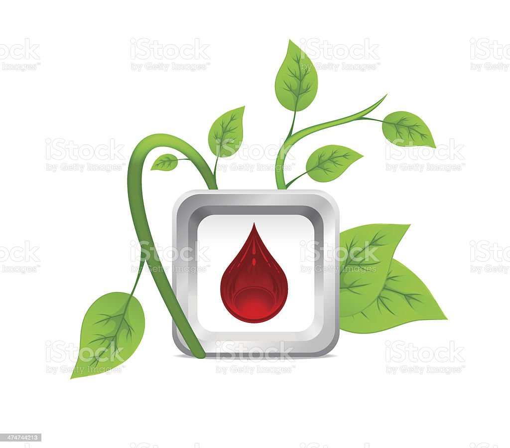 icon of drops of blood on the background of a green plant royalty-free stock vector art