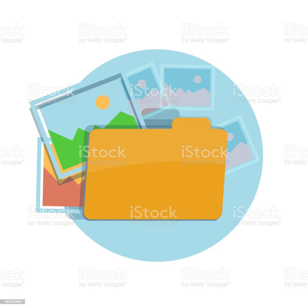 Icon of folder with pictures vector art illustration