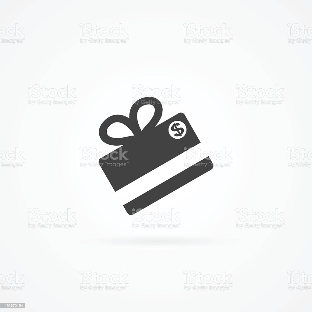 Icon of gift made form credit card. vector art illustration
