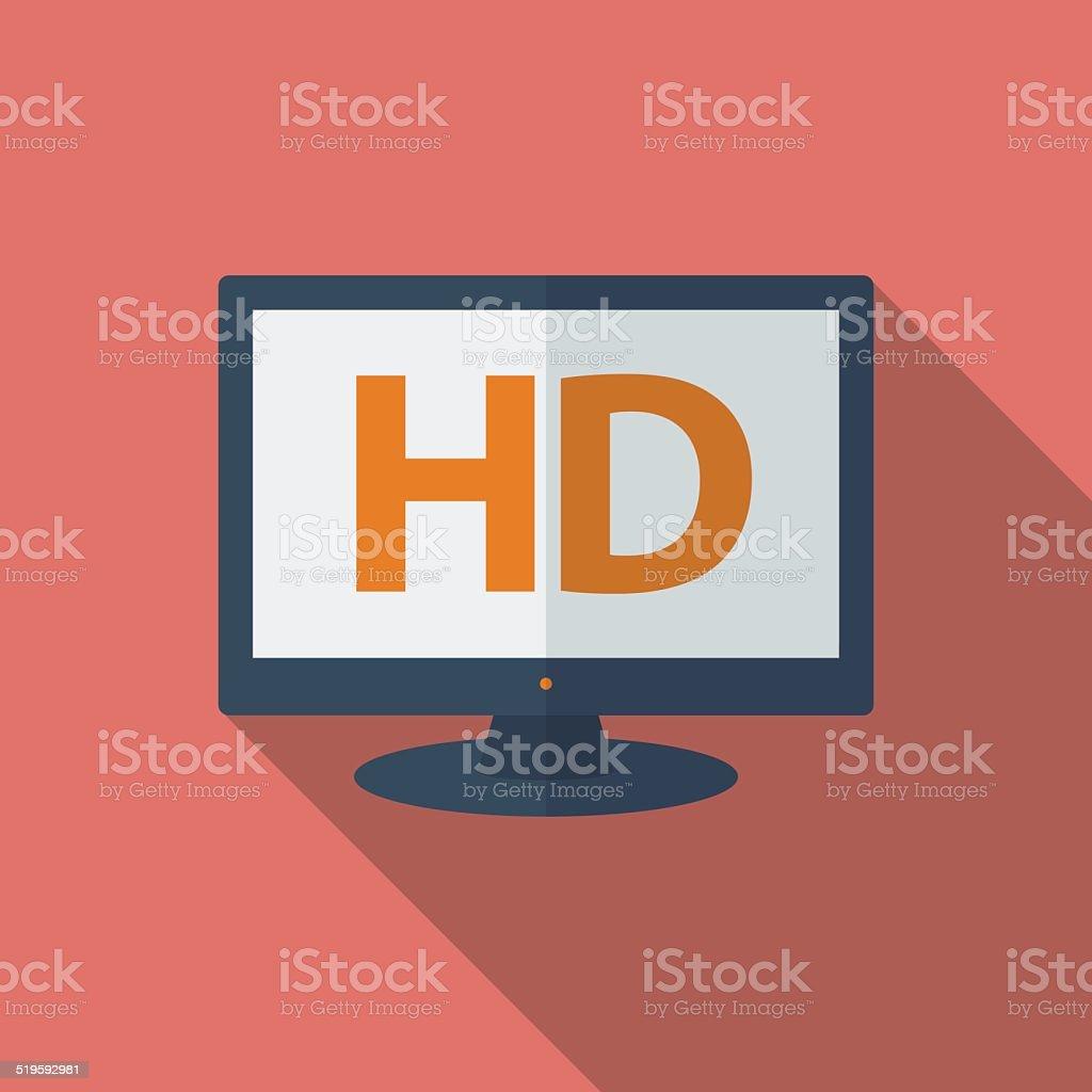 Icon of HD TV. Flat style vector art illustration