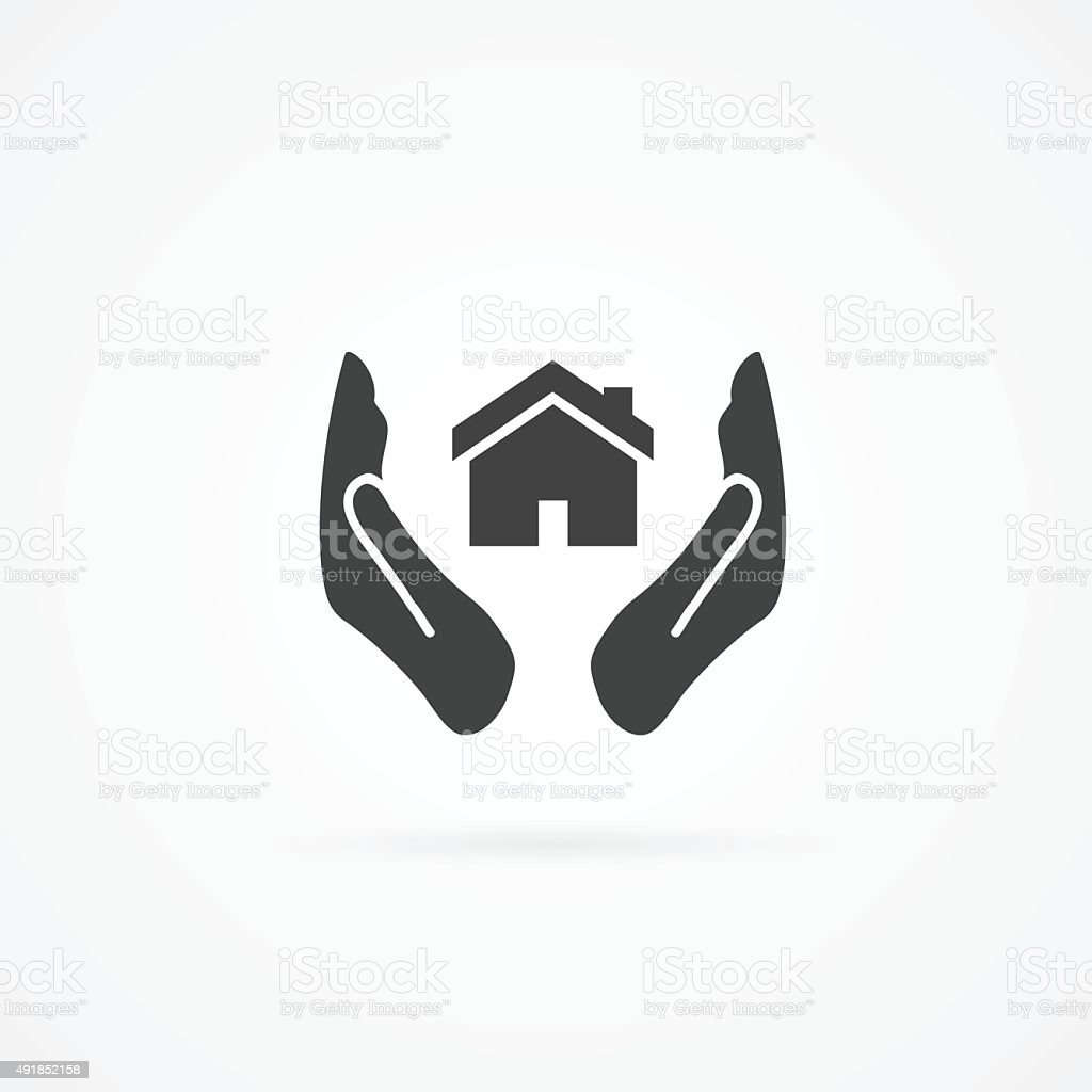 Icon of house between two hands. vector art illustration