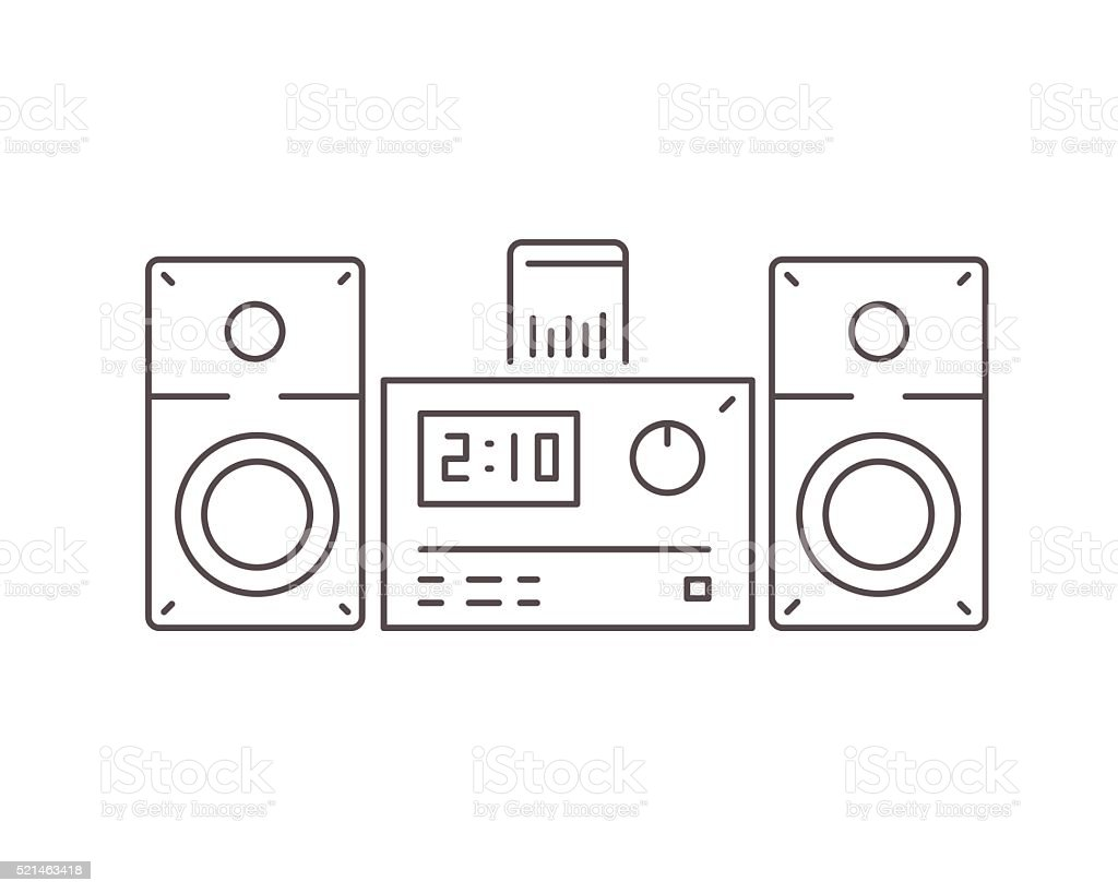 Icon of modern stereo system with dock station for smartphone vector art illustration