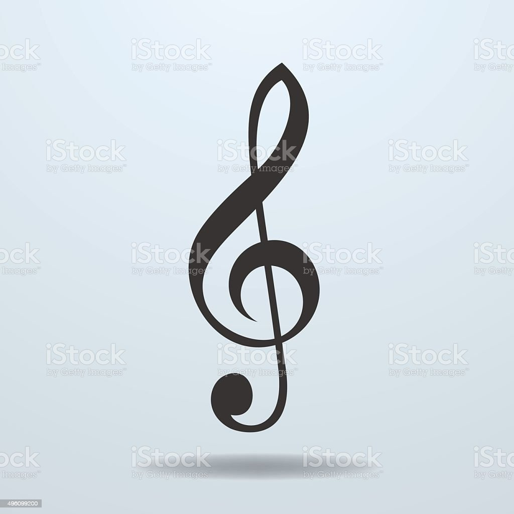 Icon of Music Clef or Music note key vector art illustration