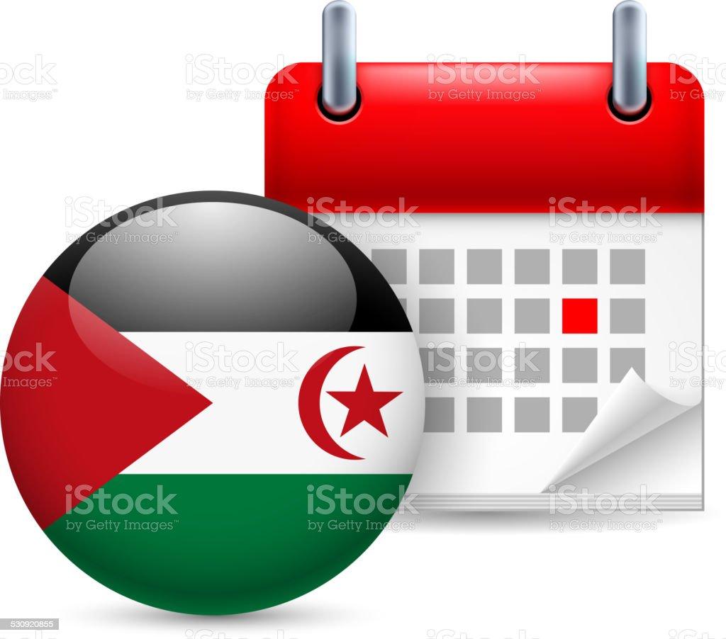 Icon of National Day in Sahrawi Arab Democratic Republic vector art illustration