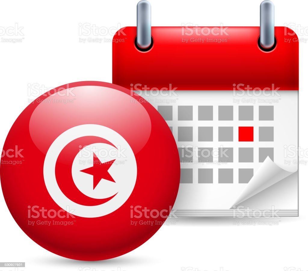 Icon of National Day in Tunisia vector art illustration