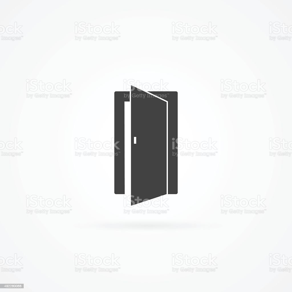 Icon of open door. vector art illustration