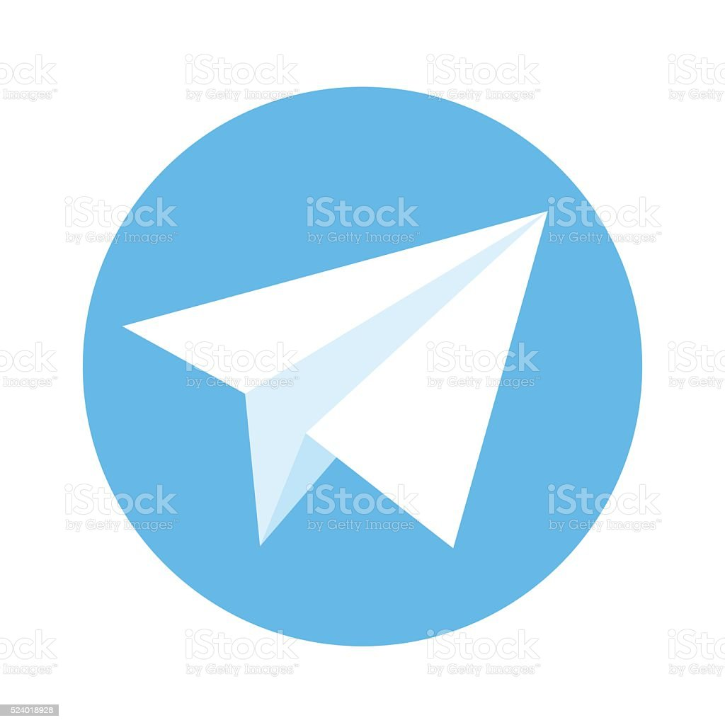 Icon of paper plane. White plane on a blue background vector art illustration