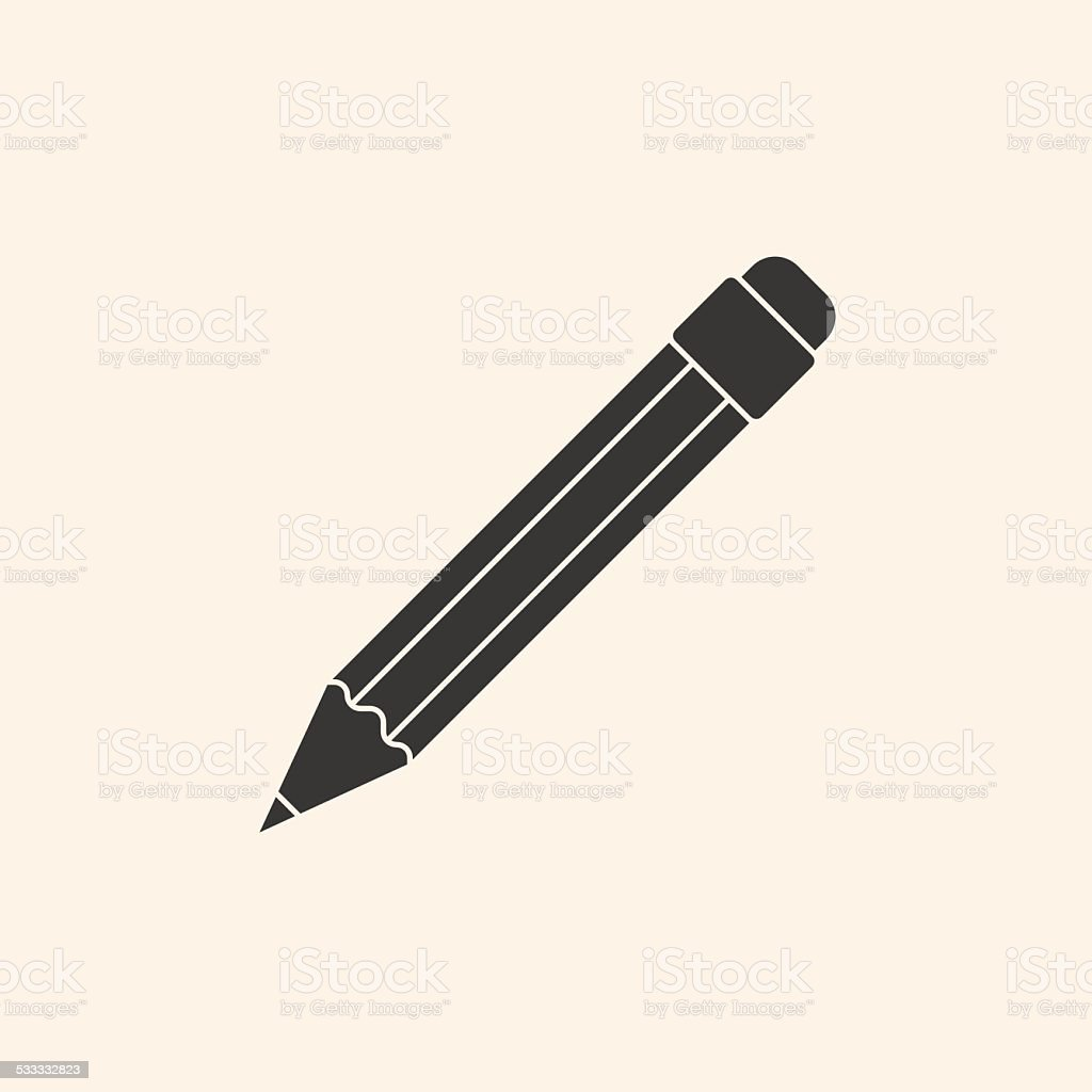 Icon of pencil vector art illustration