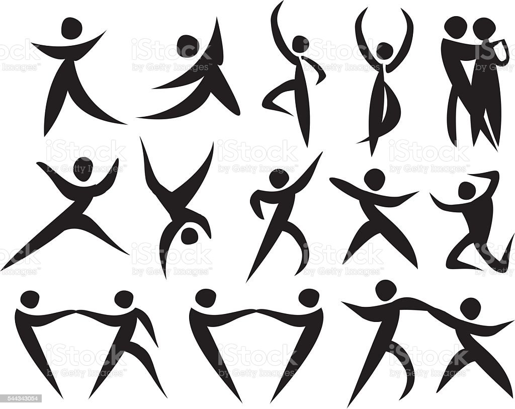 Icon of people dancing in different styles. vector art illustration