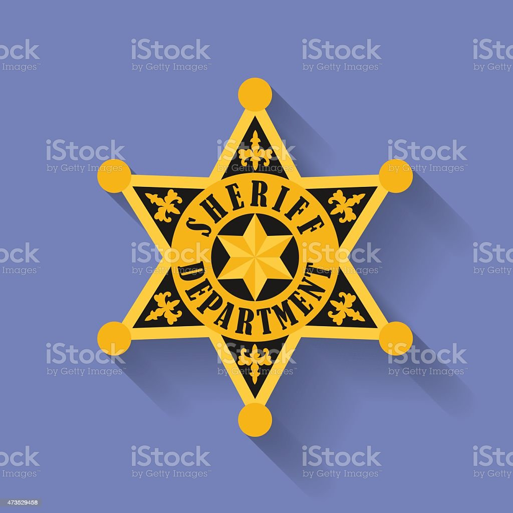 Icon of Police, Sheriff badge. Flat style vector art illustration
