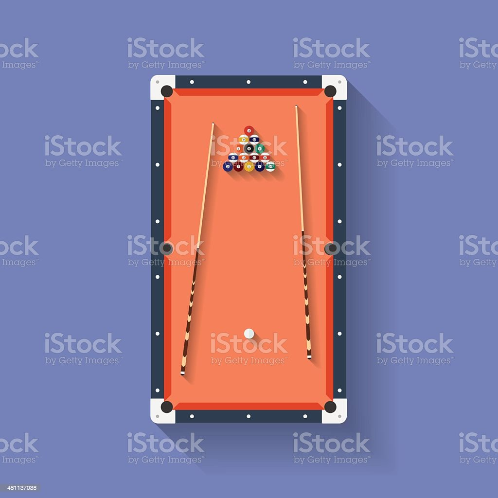 Icon of poll or billiard table with cues and balls vector art illustration