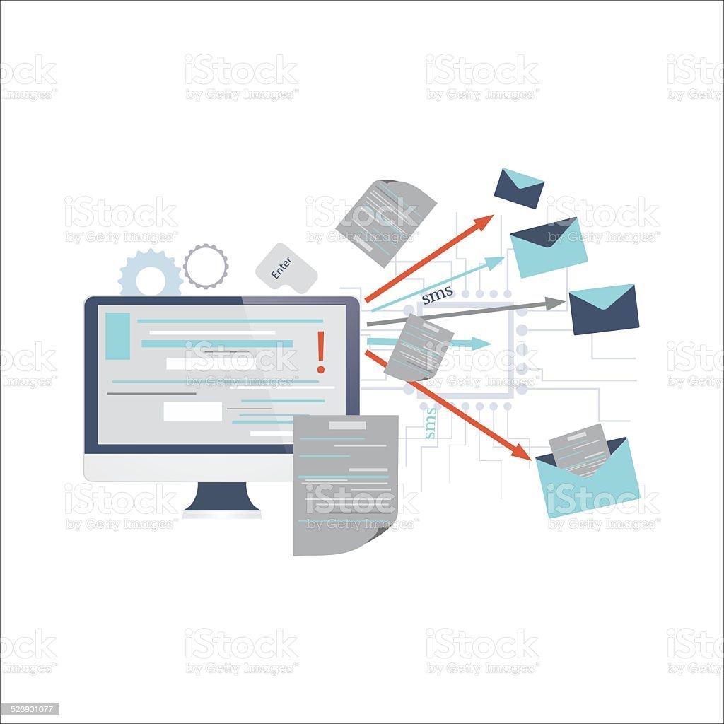 Icon of sending post, e-mail, spam vector art illustration