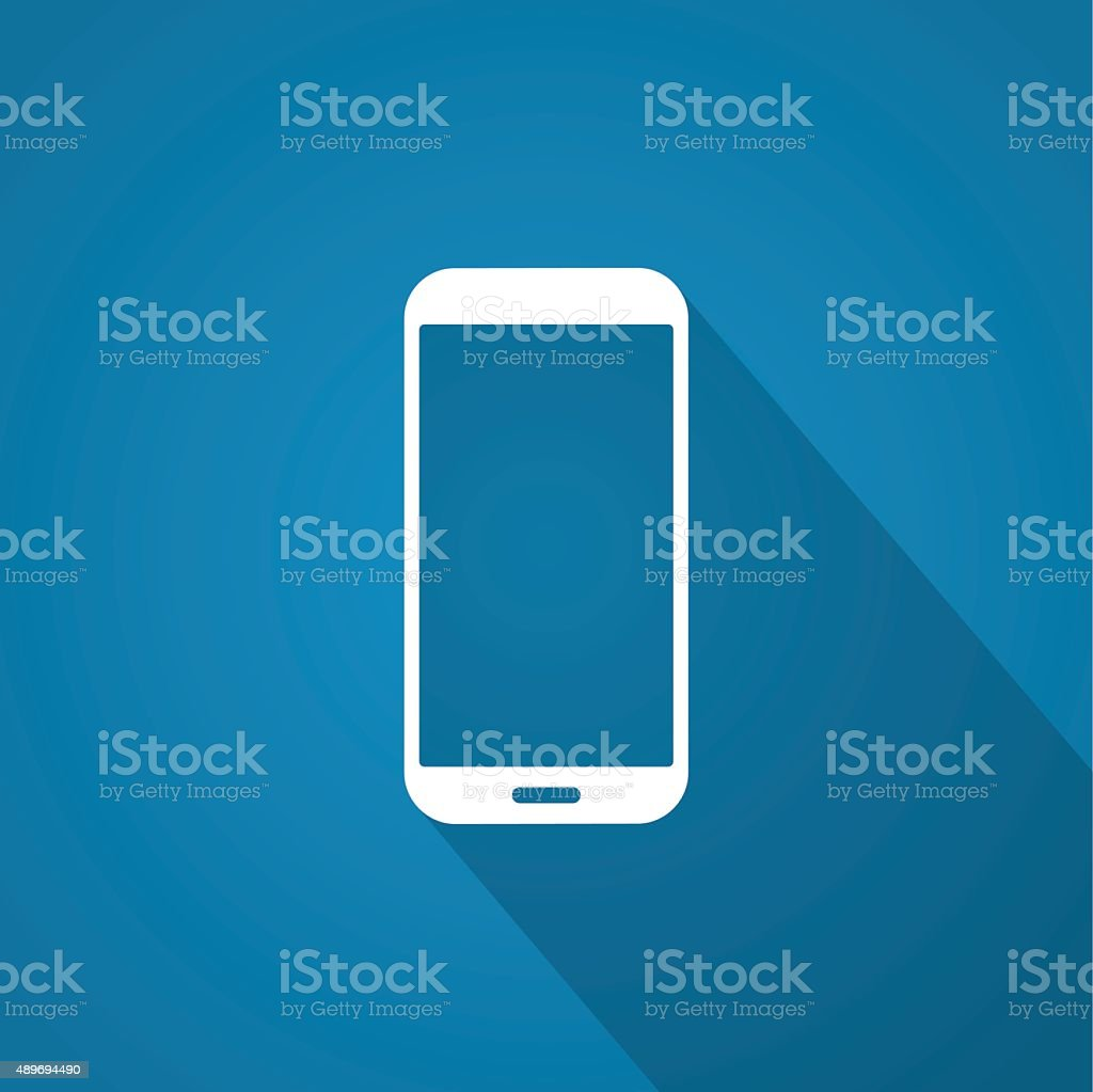Icon of smartphone on blue background with shadow. vector art illustration