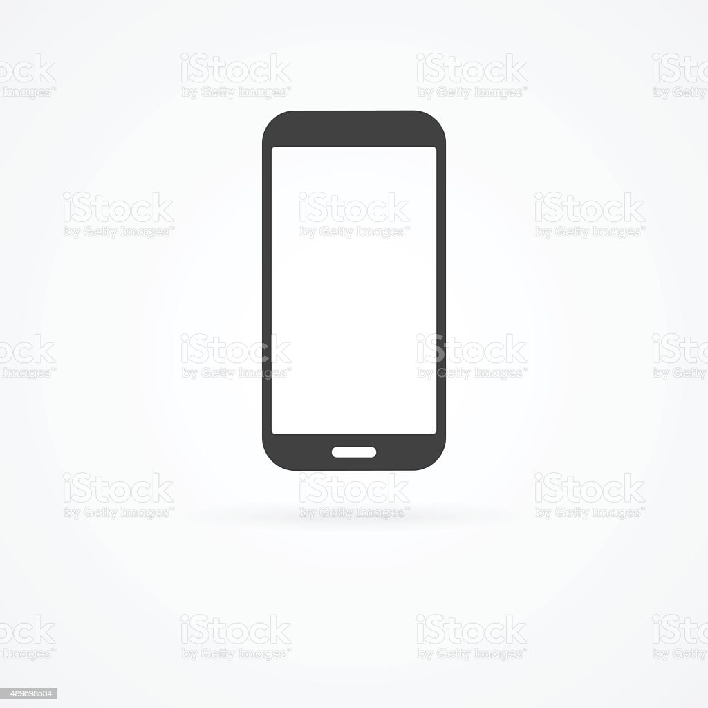 Icon of smartphone on white background with shadow. vector art illustration