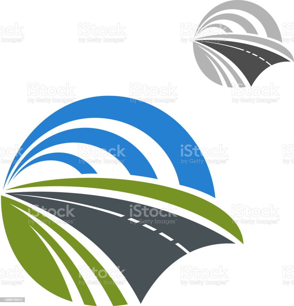 Icon of speedy road disappearing into the distance vector art illustration