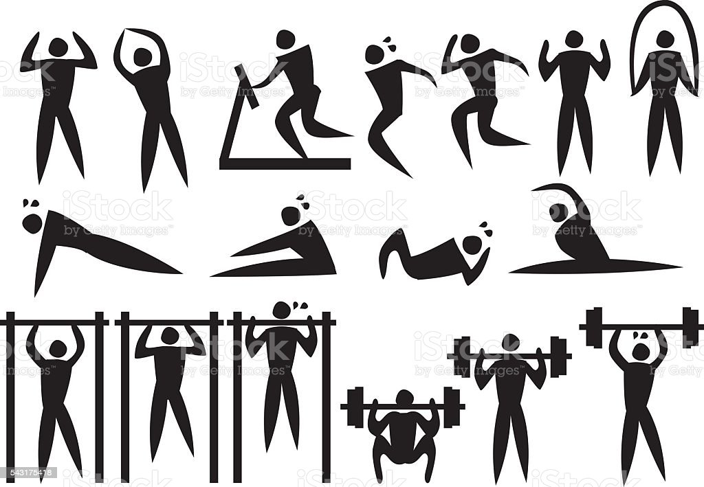 Icon of sport man in the different exercise activities. vector art illustration