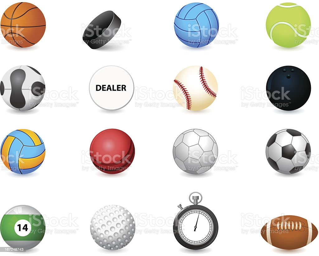 icon of sports balls and stopwatch royalty-free stock vector art