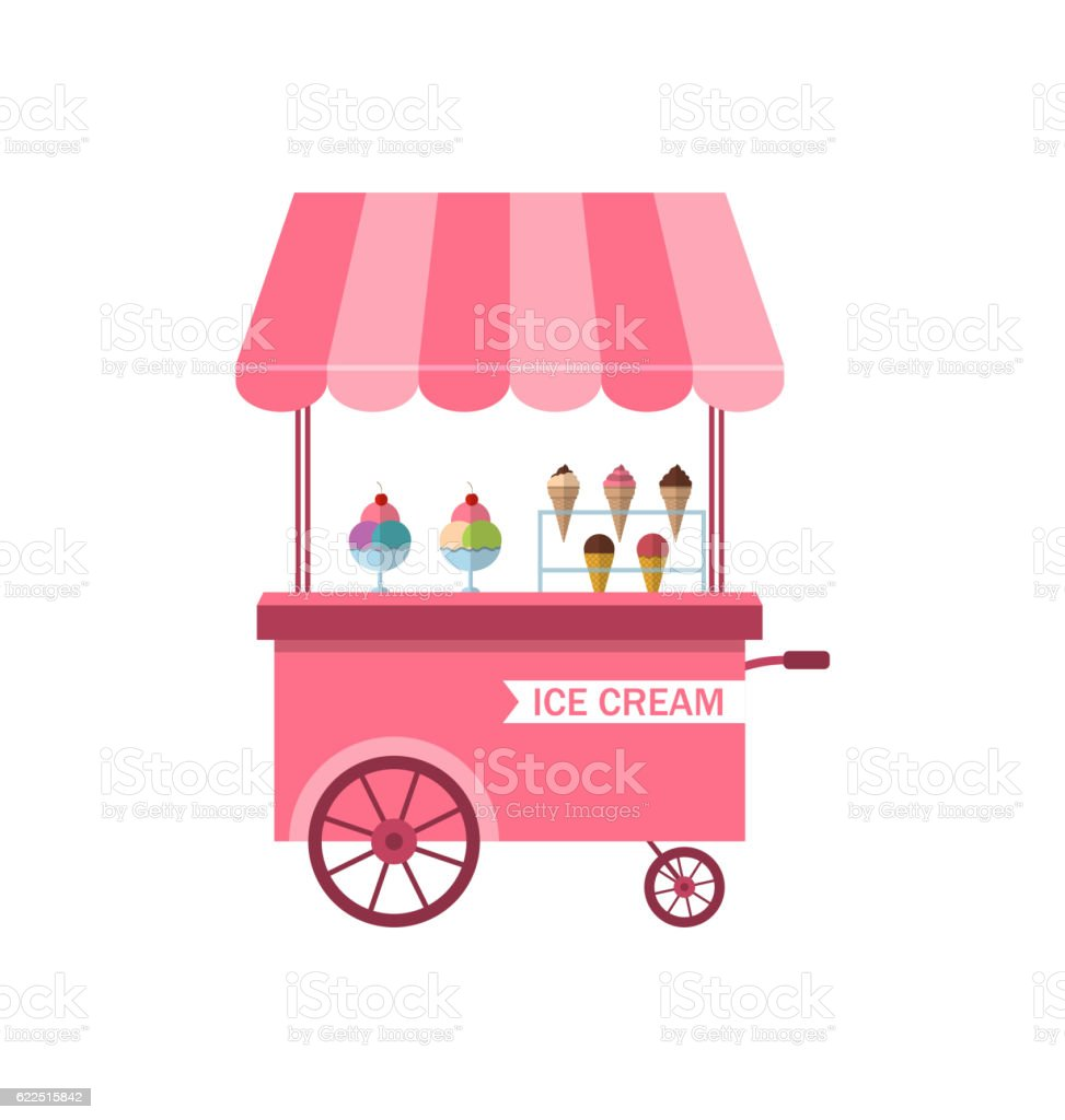 Icon of Stand  Ice Creams, Sweet Cart Isolated on White vector art illustration
