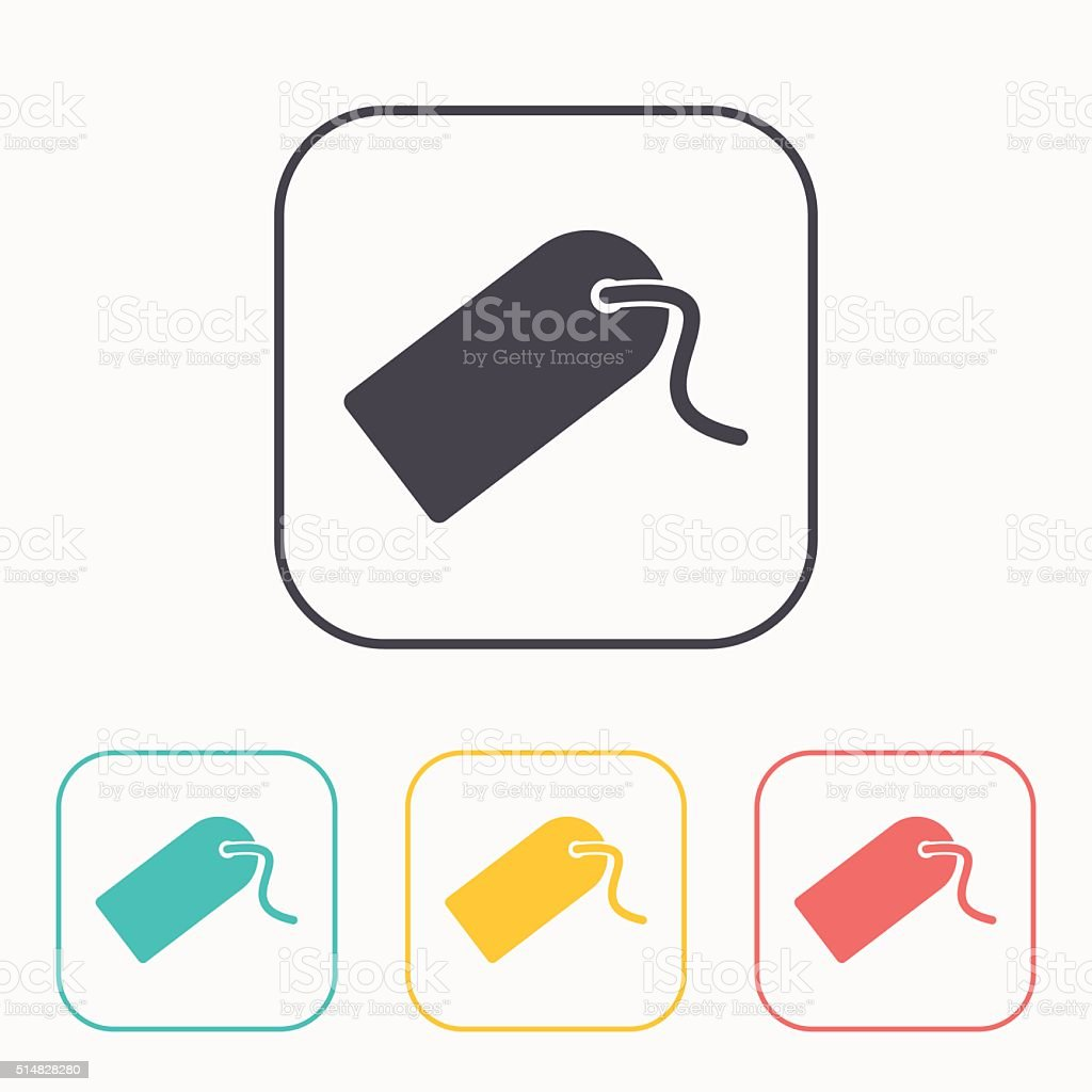 icon of tag color set vector art illustration