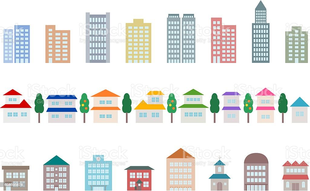 Icon of townscape vector art illustration