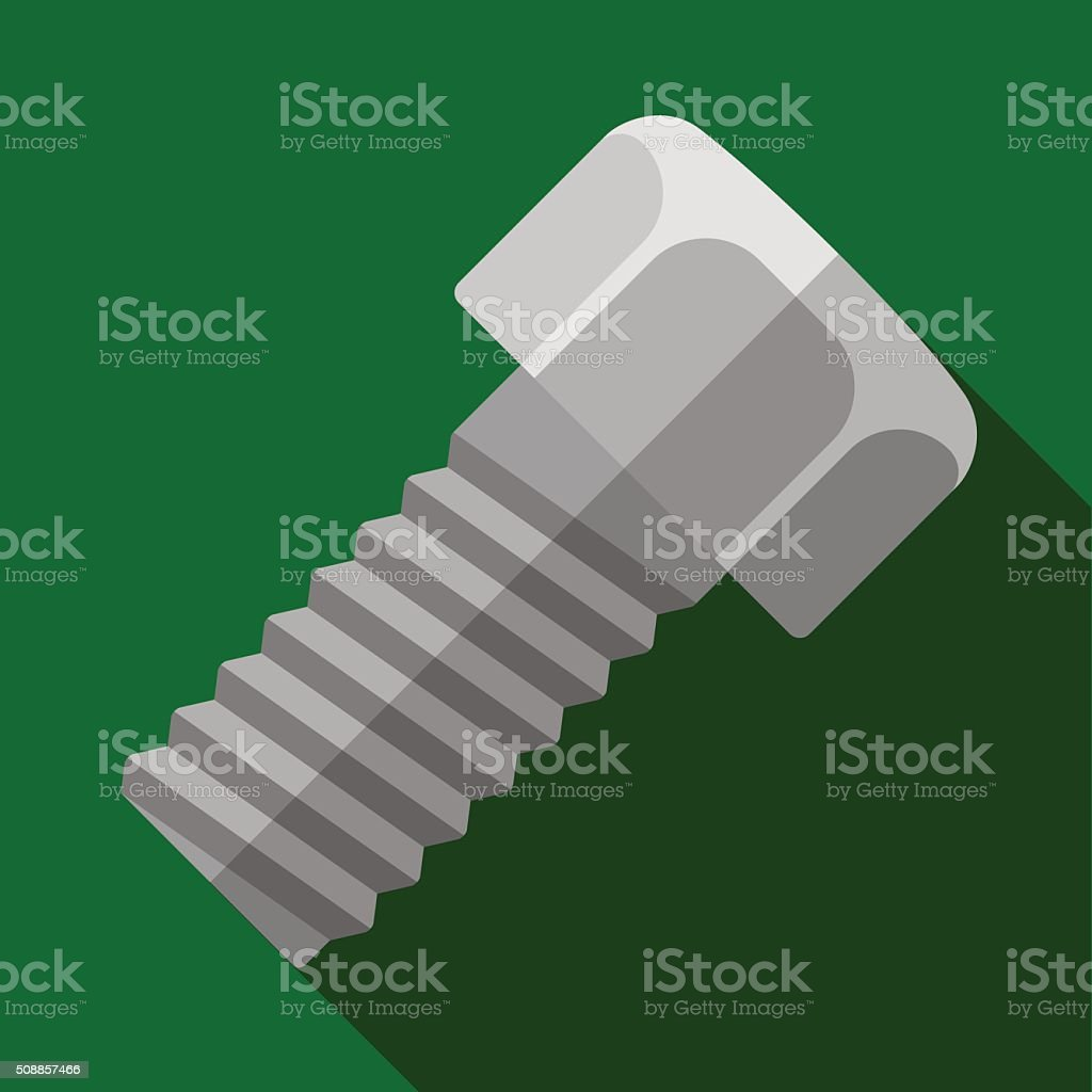Icon of toy bolt with fastening nut in flat design vector art illustration
