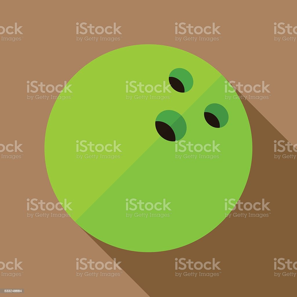 Icon of toy green bowling ball in flat design vector art illustration