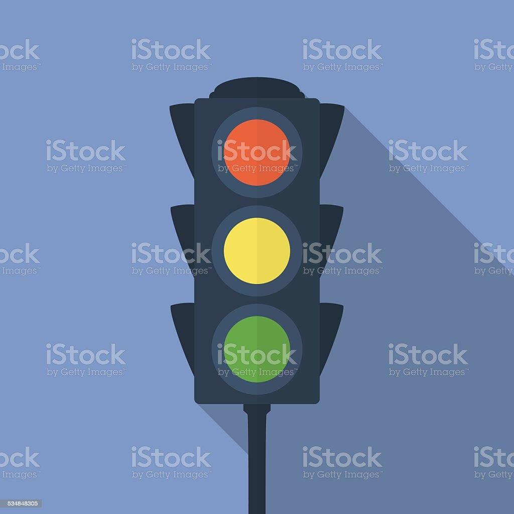 Icon of traffic light. Flat style vector art illustration
