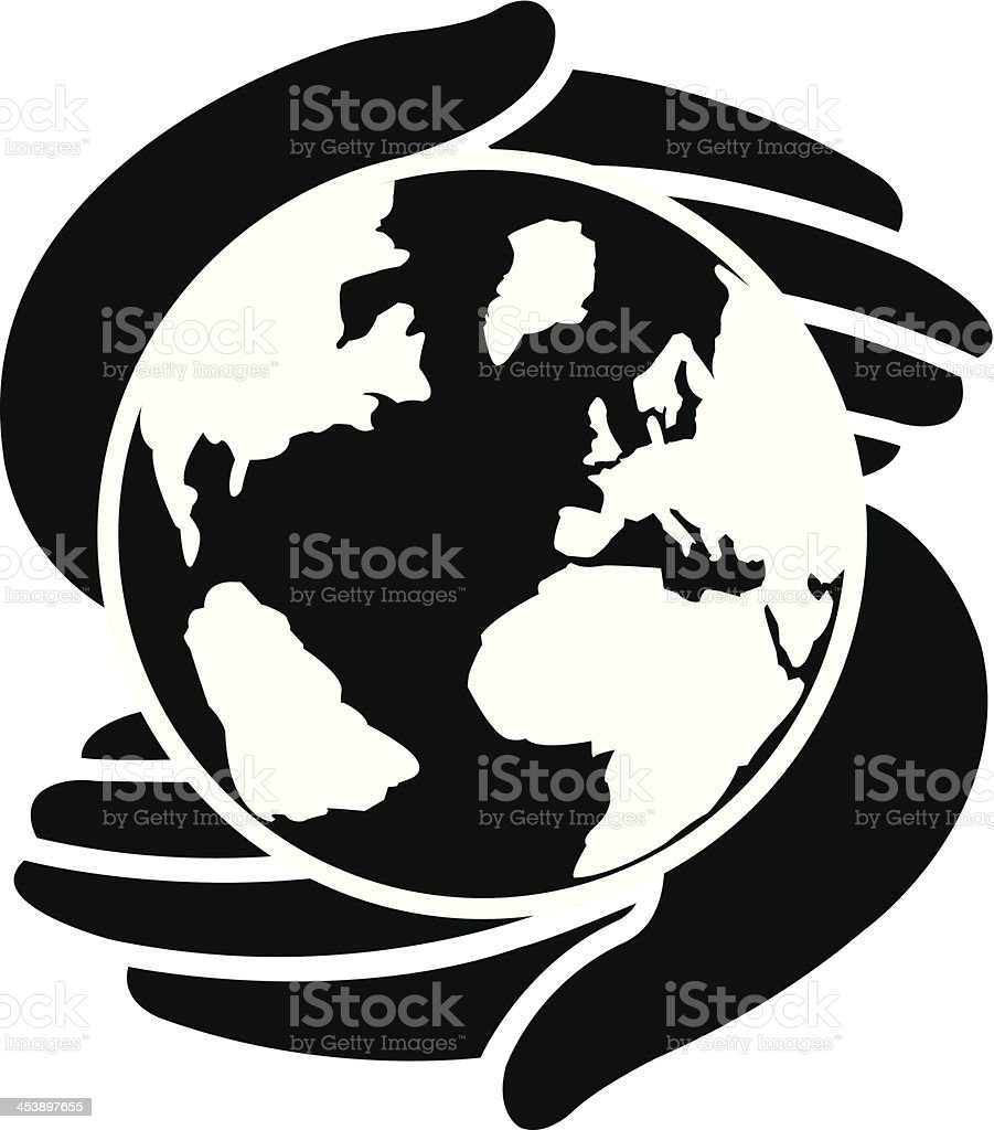 icon of two hands protecting the earth vector art illustration