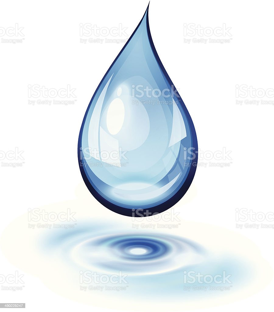 Icon of water drop on white background vector art illustration