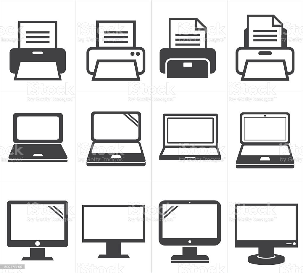 icon office equipment  Fax ,laptop,printer vector art illustration