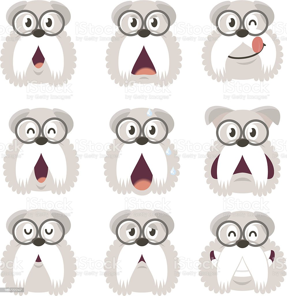 Icon ( Emoticons ) - Old Dog in various moods royalty-free stock vector art