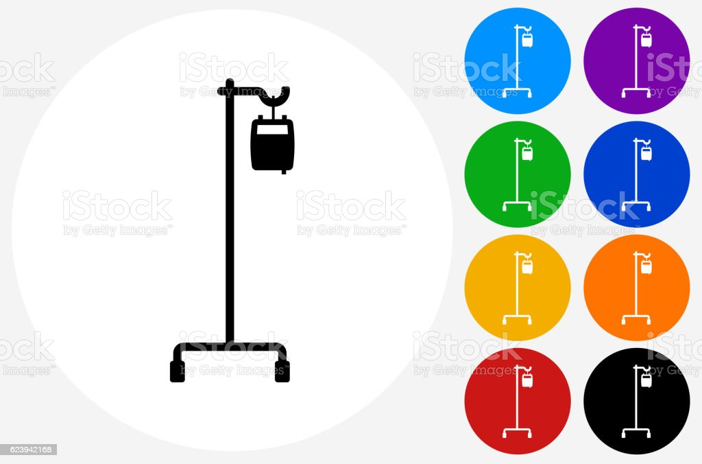 IV Icon on Flat Color Circle Buttons vector art illustration