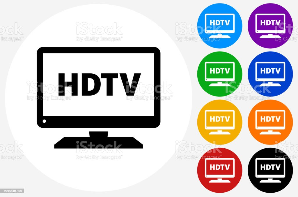 HD TV Icon on Flat Color Circle Buttons vector art illustration