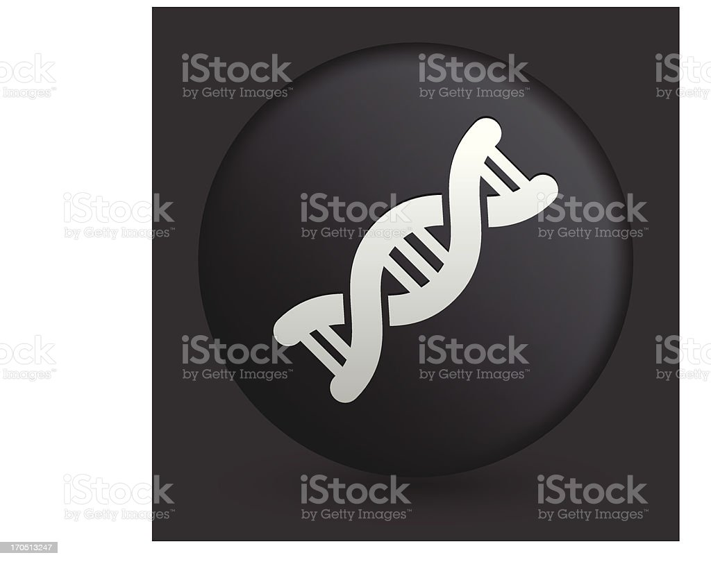 DNA Icon on Round Black Button Collection royalty-free stock vector art
