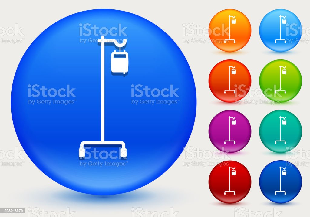 IV Icon on Shiny Color Circle Buttons vector art illustration