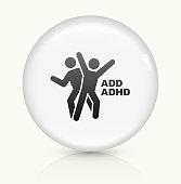 ADD ADHD icon on white round vector button