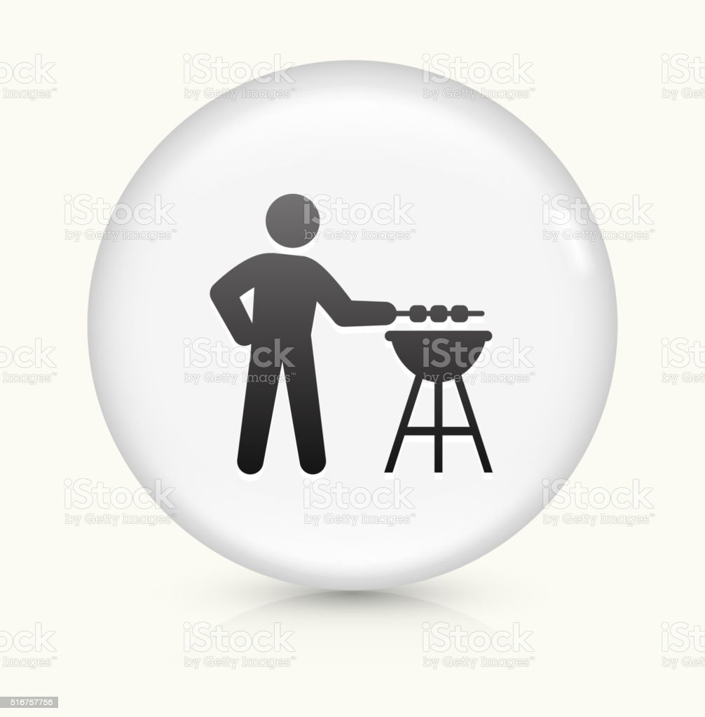 BBQ icon on white round vector button vector art illustration