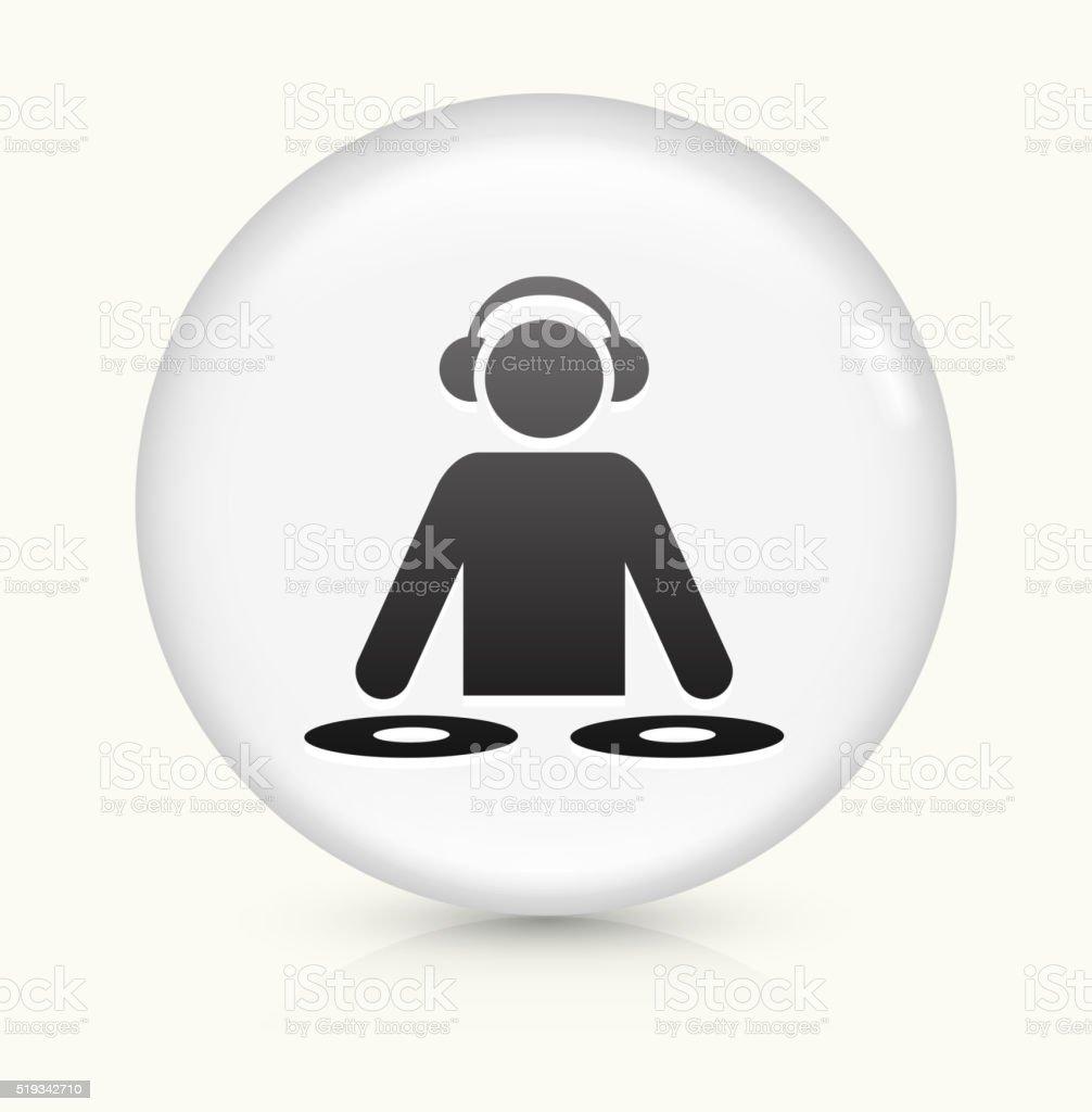 DJ icon on white round vector button vector art illustration