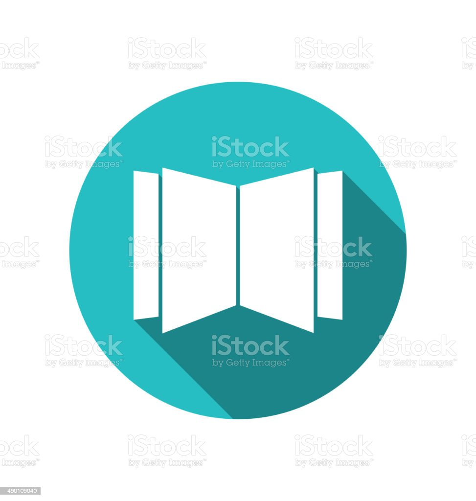 Icon open magazine newspaper cuted on round blue backdrop vector art illustration