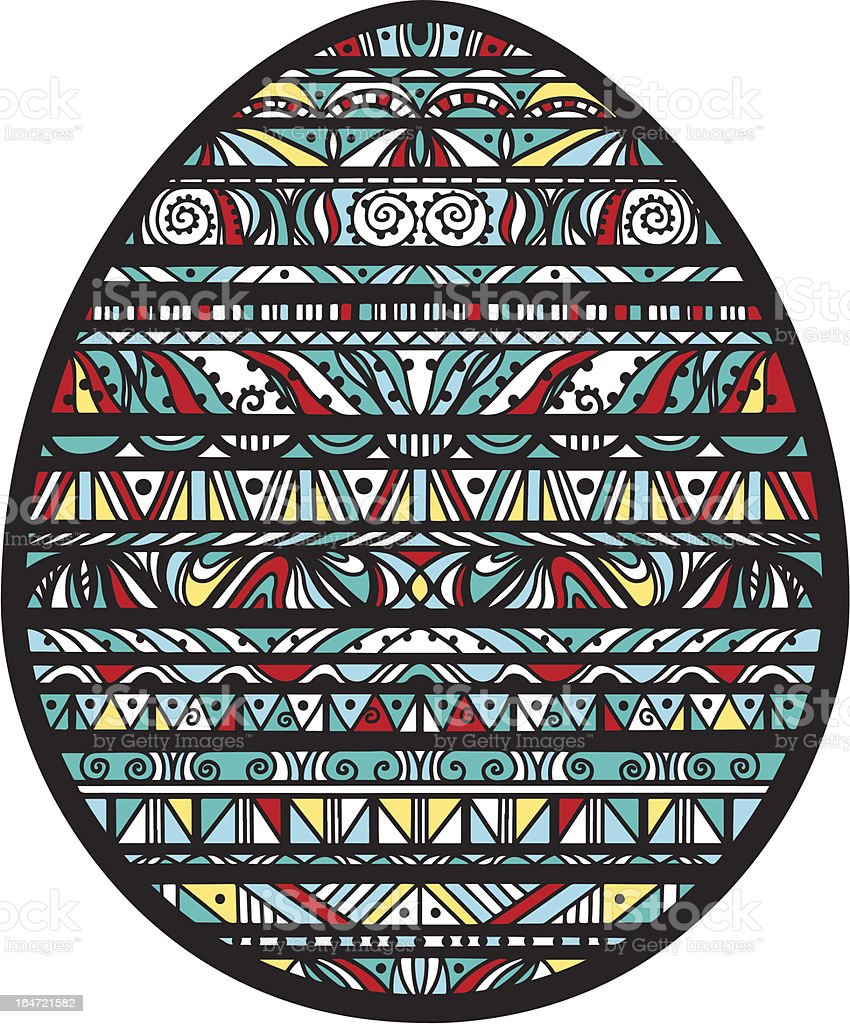 Icon ornamentall colorful easter egg on a white background royalty-free stock vector art