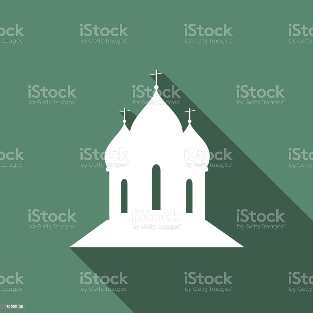 Icon Orthodox Cathedral Church with a long shadow vector art illustration