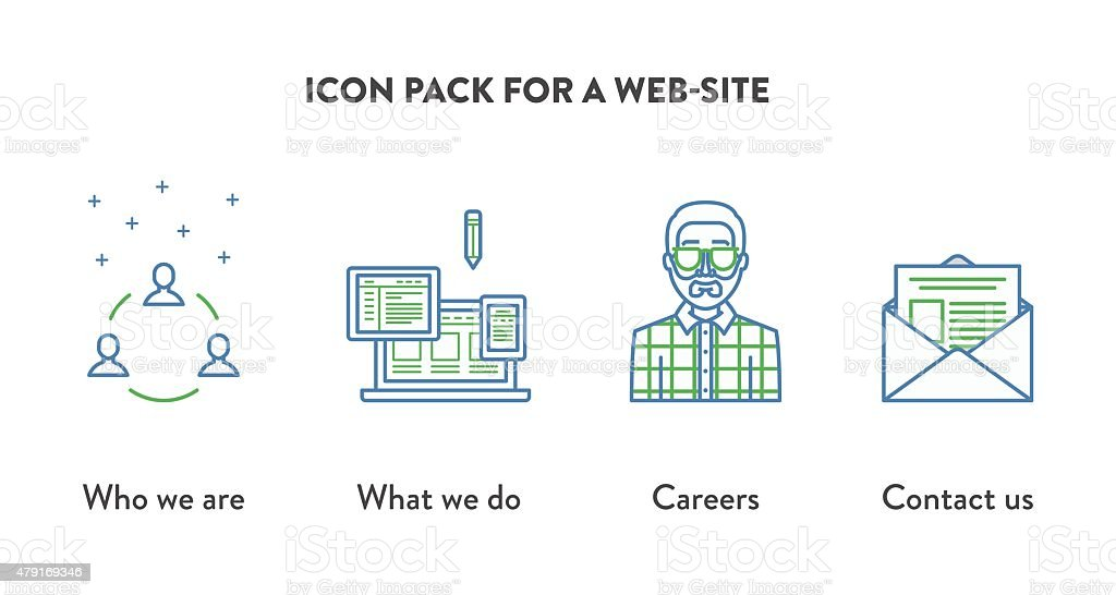 Icon pack for a website with icons displaying who stock vector art icon pack for a web site with icons displaying who royalty free stock vector ccuart Image collections