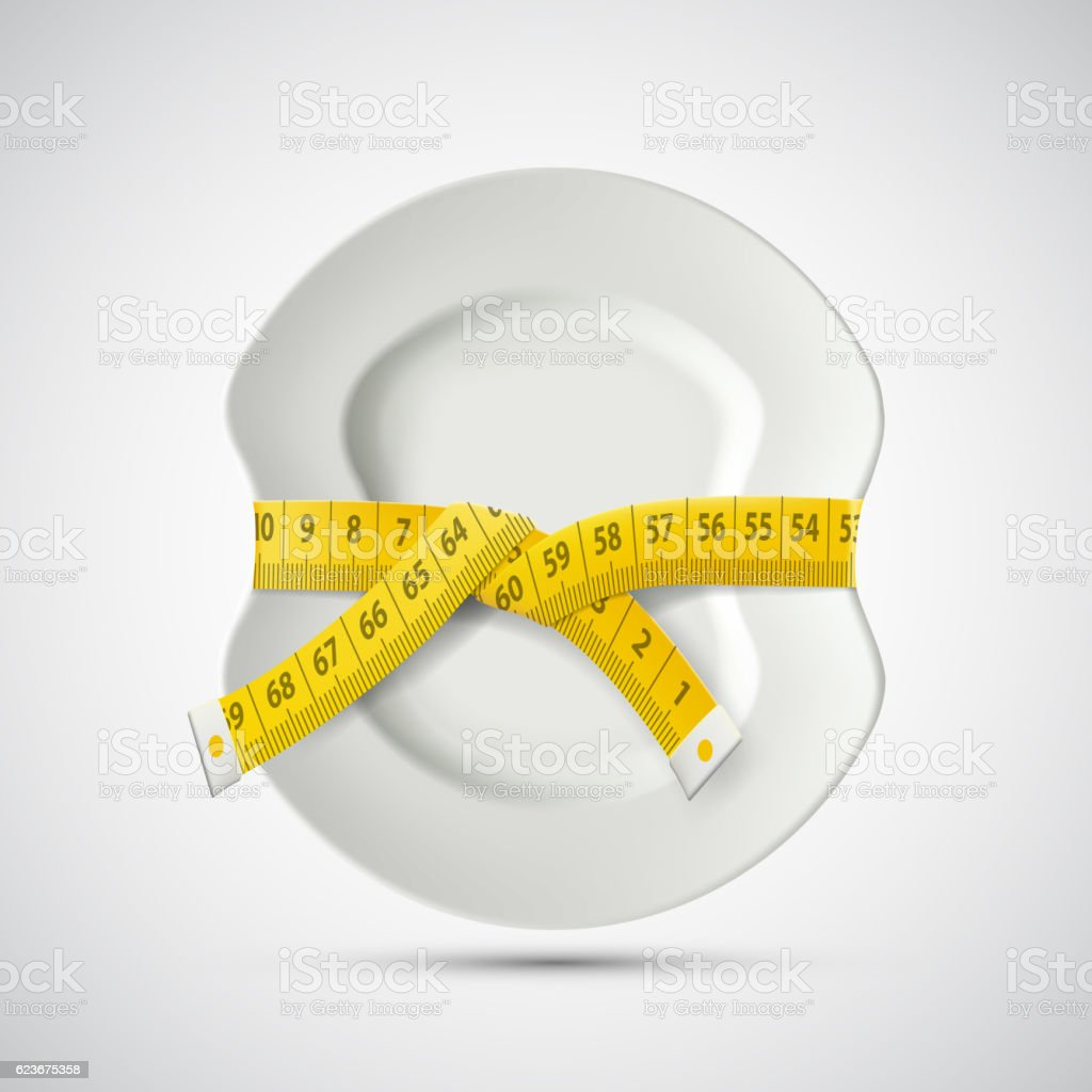 Icon plate with tailoring centimeter. Dieting and weight loss vector art illustration