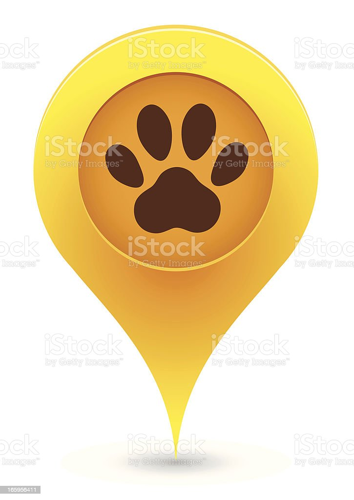 Icon pointer in yellow with brown paw print royalty-free stock vector art