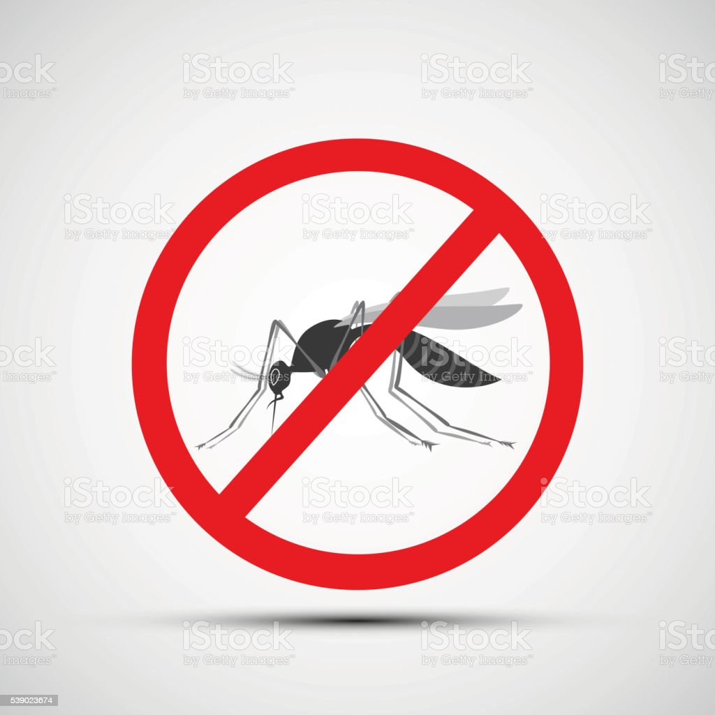 Icon prohibitory sign with a mosquito. vector art illustration